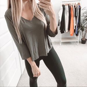 Kate & Mallory V-Neck 3/4 Sleeve Top Olive Green